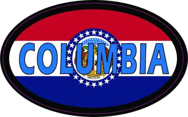 Oval Missouri Flag Columbia Sticker