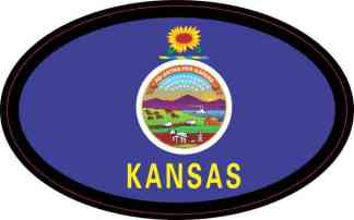 Oval Kansas Flag Sticker