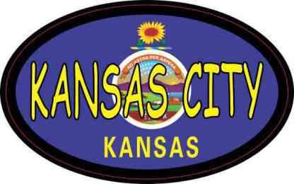Flag Oval Kansas City Sticker