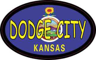 Oval Kansas Flag Dodge City Sticker