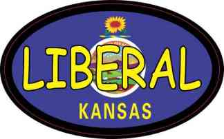 Oval Kansas Flag Liberal Sticker