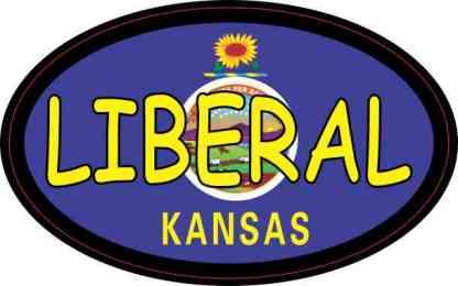 Oval Kansas Flag Liberal Sticker