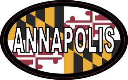 Oval Maryland Flag Annapolis Sticker