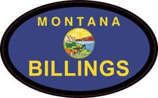 Oval Montana Flag Billings Sticker