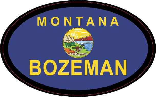 Oval Montana Flag Bozeman Sticker