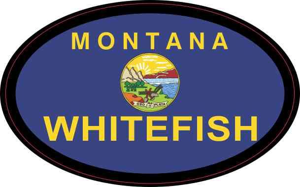 Oval Montana Flag Whitefish Sticker