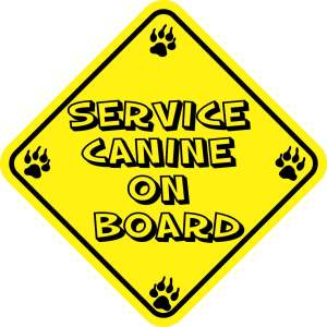 Yellow Service Canine on Board Magnet