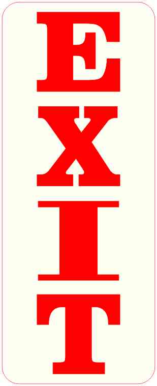 Red and Off-White Exit Sticker