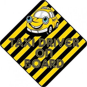 Striped Taxi Driver On Board Magnet