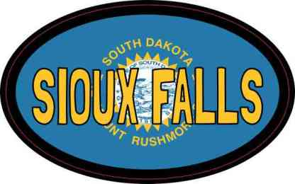 Oval South Dakota Flag Sioux Falls Sticker