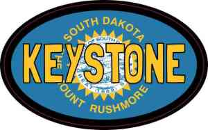 Oval South Dakota Flag Keystone Sticker