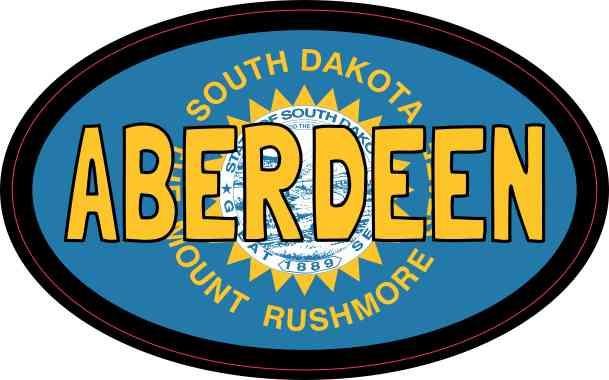 Oval South Dakota Flag Aberdeen Sticker