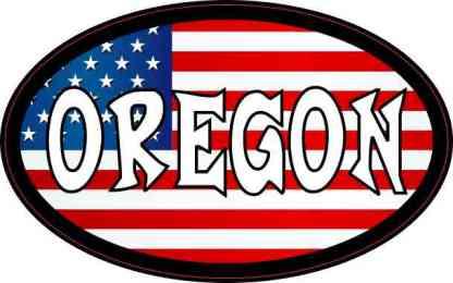 Oval American Flag Oregon Sticker