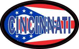 Oval Ohio Flag Cincinnati Sticker