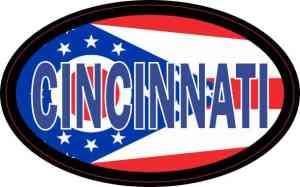Oval Ohio Flag Cincinnati Sticker