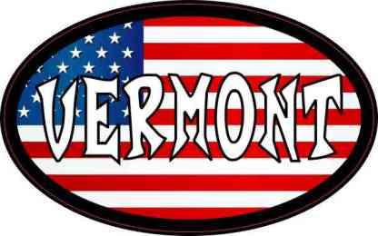 Oval American Flag Vermont Sticker