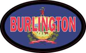 Oval Vermont Flag Burlington Sticker