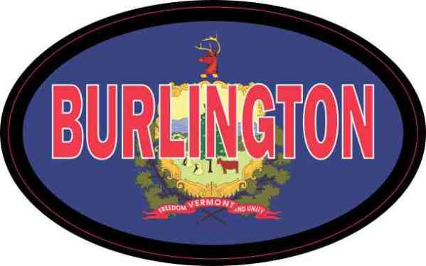 Oval Vermont Flag Burlington Sticker