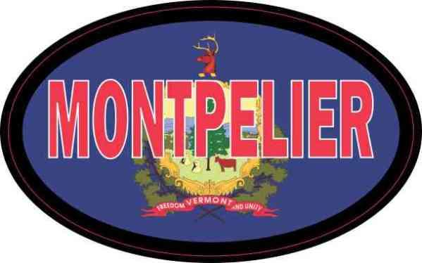 Oval Vermont Flag Montpelier Sticker