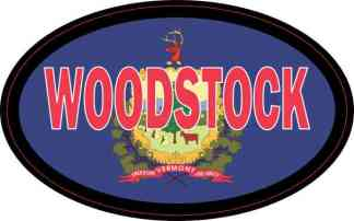 Oval Vermont Flag Woodstock Sticker