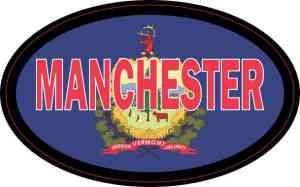 Oval Vermont Flag Manchester Sticker