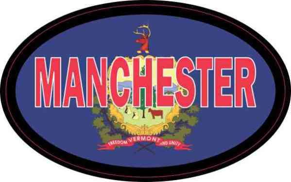 Oval Vermont Flag Manchester Sticker