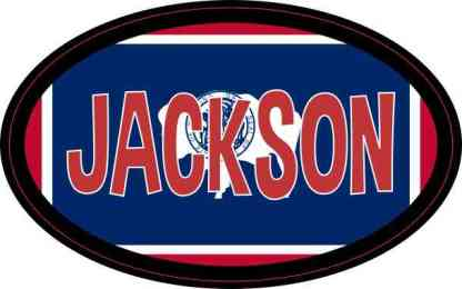 Oval Wyoming Flag Jackson Sticker