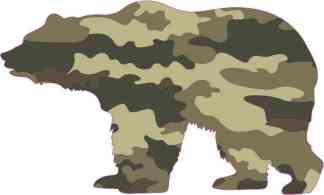 Left Facing Camouflage Bear Sticker