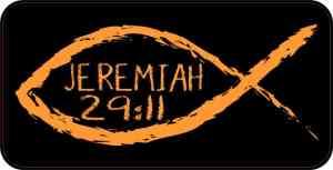 Christian Fish Jeremiah 29:11 Sticker