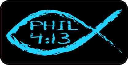 Christian Fish Philippians 4:13 Sticker