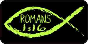 Christian Fish Romans 1:16 Sticker
