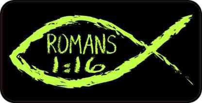 Christian Fish Romans 1:16 Sticker