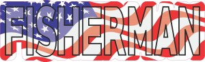American Flag Fisherman Sticker