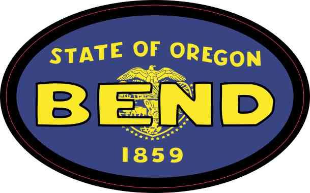 Oval Oregon Flag Bend Sticker