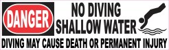 No Diving Shallow Water Sticker