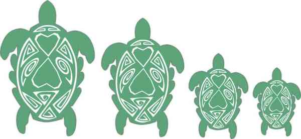 Green and White Turtle Family Stickers