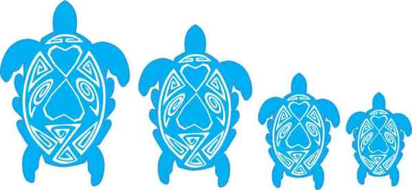 Blue and White Turtle Family Stickers