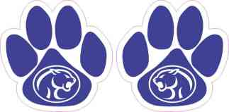 Reflected Blue Cougar Paw Stickers