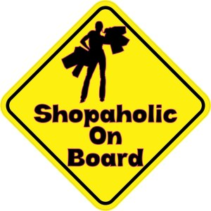 Shopaholic On Board Sticker