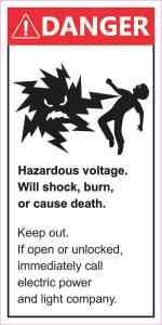 Danger Hazardous Voltage Sticker
