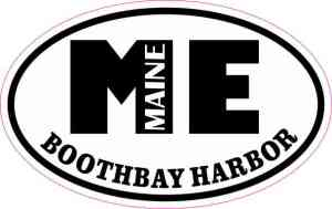 Oval ME Boothbay Harbor Maine Sticker
