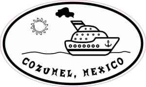 Cruise Ship Oval Cozumel Sticker