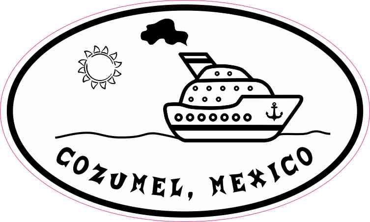 Cruise Ship Oval Cozumel Sticker