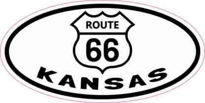 Oval Route 66 Kansas Sticker