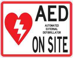 Double Sided AED on Site Sticker
