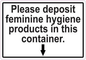 Deposit Feminine Hygiene Products Sticker