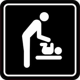 Men's Restroom Diaper Changing Station Sticker