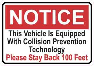 Notice Collision Prevention Technology Sticker