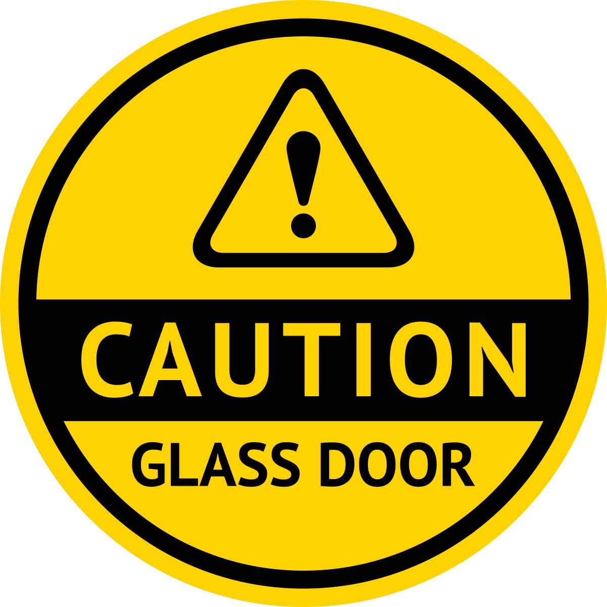 Caution Glass Door Sticker