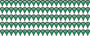 1-100 Green Map Pointer Stickers